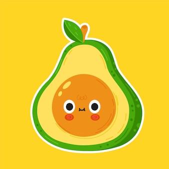 Simpatico personaggio divertente con faccia di avocado
