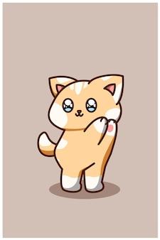 Un'illustrazione di cartone animato carino e divertente gatto bambino