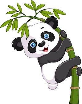 Panda sveglio sveglio del bambino che appende sul bambù