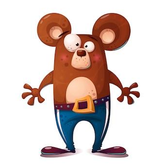 Illustrazione di orso carino, divertente. personaggio animale