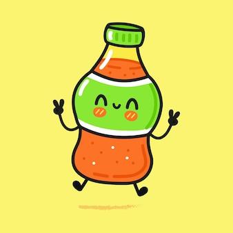 Simpatico personaggio divertente bottiglia di soda