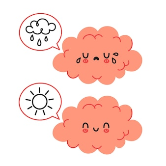 Carattere simpatico cervello divertente e fumetto con sole e nuvola di pioggia. concetto di carattere dell'umore triste e felice del cervello