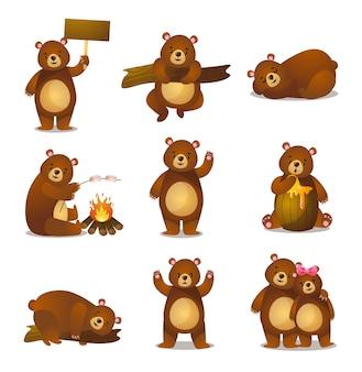 Simpatico cartone animato divertente impostare orso amichevole in diverse attività, emozione