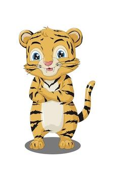 Illustrazione di tigre simpatico cartone animato divertente