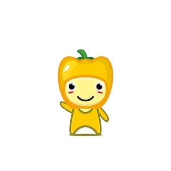 Simpatico e divertente personaggio dei cartoni animati di paprika campana gialla vector cartoon kawaii character illustration