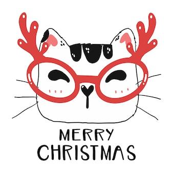 Simpatico viso di gatto divertente indossare occhiali da renna con buon natale