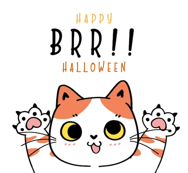 Simpatico gatto divertente giocoso gioco fantasma brr happy halloween costume cartone animato doodle outline