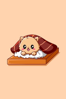 Gatto carino e divertente nell'illustrazione animale del fumetto del pasto di sushi