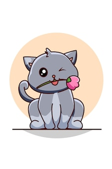 Gatto carino e divertente con illustrazione di cartone animato design rosa design