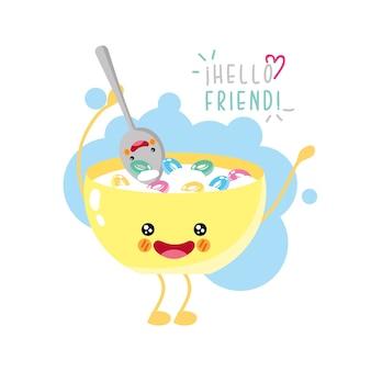 Sorridere di cereali carino e divertente