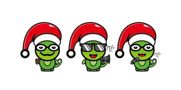 Simpatico personaggio camaleonte divertente in berretto natalizio personaggio dei cartoni animati kawaii linea piatta vettoriale