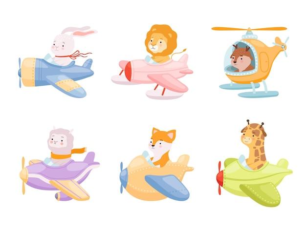 Simpatici personaggi divertenti in aeroplani trasportano collezioni di mascotte di eroi di volo. Vettore Premium