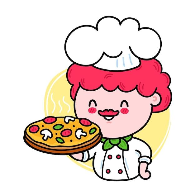 Simpatico e divertente cuoco che tiene in mano il personaggio della pizza