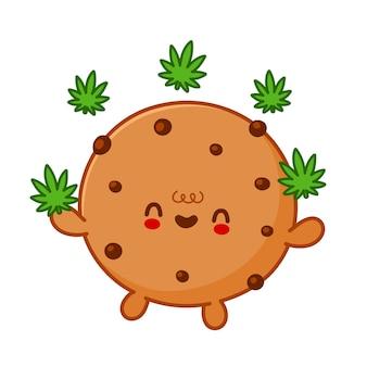 Simpatico e divertente biscotto al cioccolato che fa jogging con il personaggio di foglia di erbaccia di marijuana