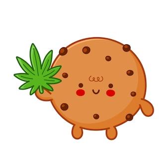 Simpatico e divertente biscotto al cioccolato con carattere di foglia di marijuana