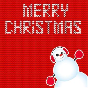 Cartolina di natale carina e divertente. personaggio pupazzo di neve. illustrazione vettoriale.
