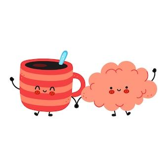 Carino divertente tazza da caffè e cervello