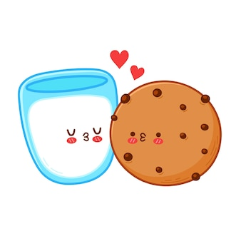 Biscotto divertente carino e coppia di bicchieri di latte. carta di buon san valentino. icona dell'illustrazione del personaggio di kawaii del fumetto di linea piatta di vettore. isolato su sfondo bianco. concetto di san valentino