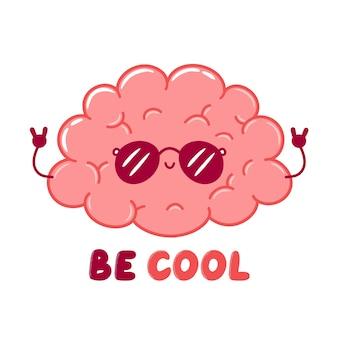 Carattere di organo del cervello umano fresco divertente carino in occhiali da sole. icona di illustrazione di carattere kawaii del fumetto di linea piatta. isolato su sfondo bianco. be cool t-shirt, concetto di design di stampa poster
