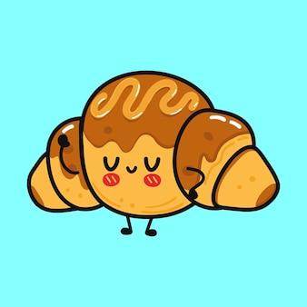 Simpatico personaggio divertente croissant