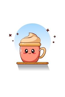 Illustrazione del fumetto dell'icona della tazza carina e divertente