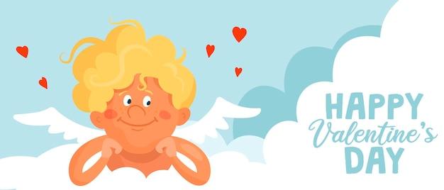 Cupido divertente sveglio si trova su una nuvola. bandiera o carta del fumetto di san valentino felice