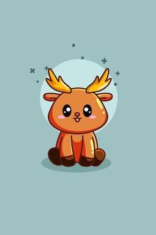 Illustrazione di cartone animato animale cervo carino e divertente