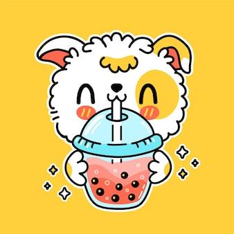 Simpatico cane divertente bere bubble tea dalla tazza. icona del logo dell'autoadesivo dell'illustrazione del carattere del fumetto kawaii disegnato a mano di vettore. asian boba, cucciolo di cane e bubble tea bevono un personaggio dei cartoni animati poster concept