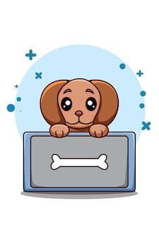 Cane carino e divertente con l'illustrazione del fumetto animale dell'immagine dell'osso
