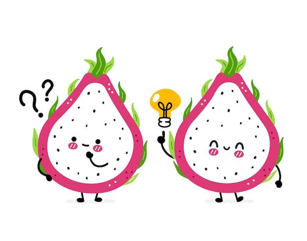 Simpatico drago divertente frutta con punto interrogativo e lampadina idea