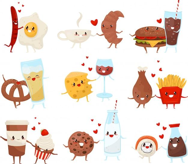 I personaggi dei cartoni animati divertenti svegli delle bevande e dell'alimento hanno messo, per sempre amici, illustrazione del menu degli alimenti a rapida preparazione su un fondo bianco