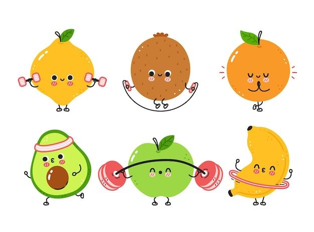 Simpatici frutti divertenti fanno set da palestra Vettore Premium