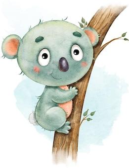 Koala divertente divertente sveglio sull'albero dipinto in acquerello isolato su bianco