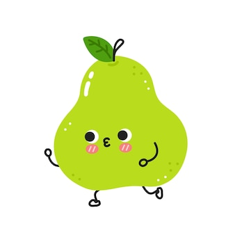 Simpatica e divertente pera verde che fa jogging