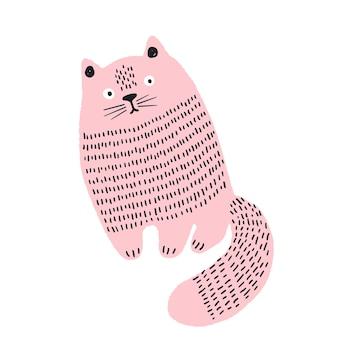 Simpatico gatto disegnato a mano divertente stampa personaggio gatto doodle emozioni di animali domestici carini