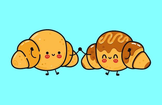 Simpatico e divertente croissant allegro e personaggio di croissant al cioccolato