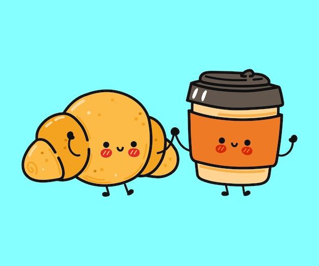 Simpatico personaggio divertente croissant felice e tazza di carta da caffè