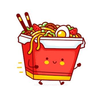 Carina divertente felice consegna wok noodle box carattere eseguito. icona di illustrazione di carattere kawaii del fumetto di linea piatta. isolato su sfondo bianco cibo asiatico, noodle, concetto di consegna del carattere della scatola del wok
