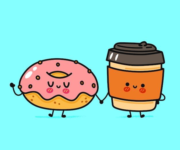 Simpatico personaggio divertente ciambella felice e tazza di carta da caffè