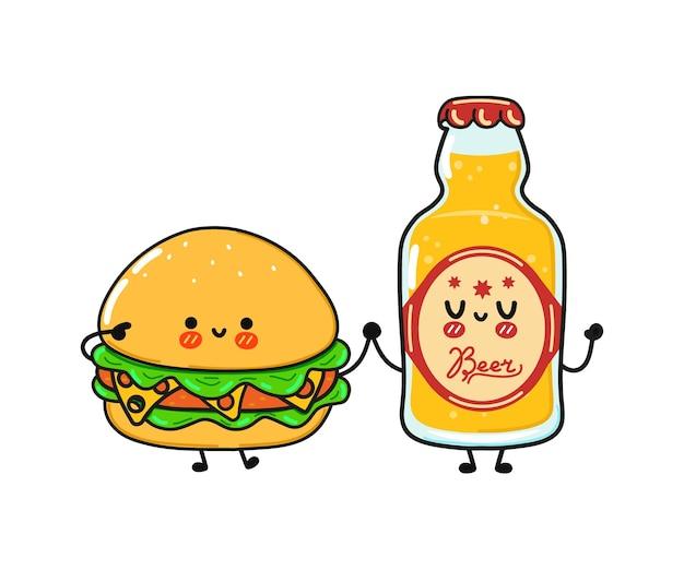 Simpatico hamburger felice divertente e bottiglia di birra