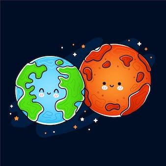 Carino divertente felice marte e pianeta terra.