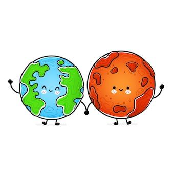 Carino divertente felice marte e pianeta terra