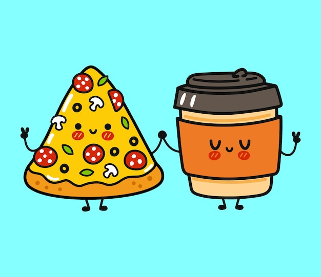 Simpatico personaggio divertente e felice di pizza e tazza di carta da caffè