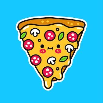 Fetta di pizza felice divertente carina. slogan dei migliori amici. icona dell'autoadesivo dell'illustrazione del logo del fumetto di doodle disegnato a mano di vettore. stampa fetta di pizza per t-shirt, poster, concetto di carta