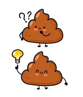 Cacca felice divertente sveglia con il punto interrogativo e la lampadina di idea