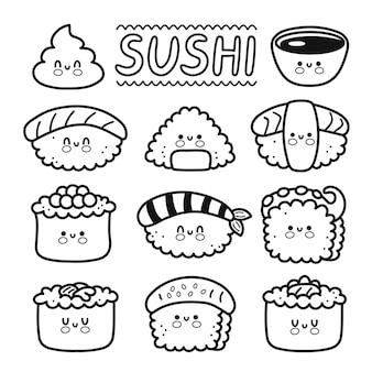 Carino divertente felice sushi, maki, rotoli collezione di set di personaggi dei cartoni animati. icona dell'illustrazione del carattere kawaii di linea disegnata a mano di vettore. cartone animato kawaii carino sushi, concetto di menu del ristorante di cibo asiatico