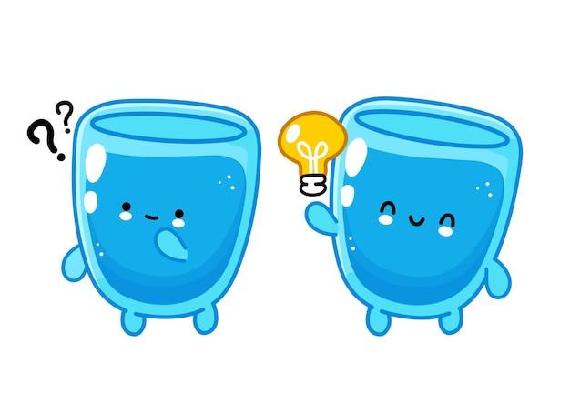 Simpatico personaggio divertente bicchiere d'acqua felice con punto interrogativo e lampadina idea.