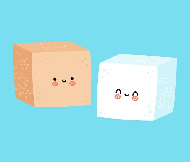Simpatico personaggio divertente e felice del cubo di zucchero bianco e marrone
