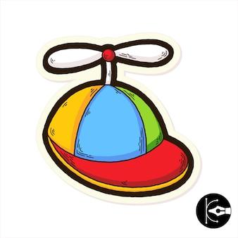 Illustrazione di cartone animato cappello carino e divertente.