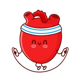 Simpatico organo cuore divertente fare palestra con corda per saltare